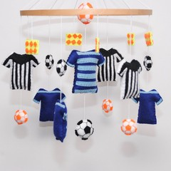 Soccer themed baby mobile ~ soccer top-soccer ball-flags-crib mobile-made to ord