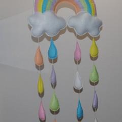 Rainbow and Raindrop mobile/wall hanging ~ Pastel - nursery mobile - unisex mobi
