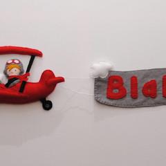 Plane Felt Name Banner~ Pilot - Clouds - Plane - Name Banner- made to order - nu