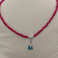 Handmade 50cm Beaded Necklace with Guitar Pendant