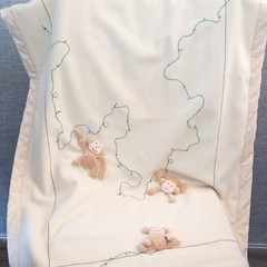Cashmere Baby blanket ~ Baby blanket - monkey appliqué - cotton - nursery decor