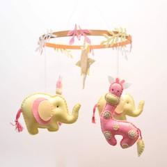 Giraffe and Elephant Baby mobile ~ giraffe - elephant - crib mobile - made to or