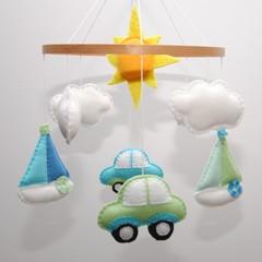 Car and Boat Baby mobile ~ felt boat - felt sun - felt car -clouds-crib mobile -