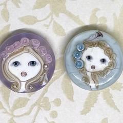 Two Handmade Glass Lampwork Beads