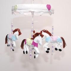 Carousel Horse - Baby mobile ~ crib mobile - felt horses - baby shower gift - pi