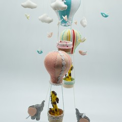 Hot Air Balloons, Giraffe and Elephant with baby birds ~  baby mobile