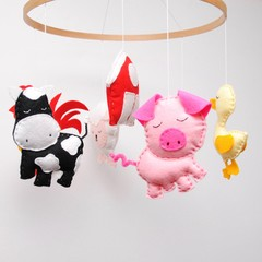 Farm animal baby mobile ~ horse-cow-lamb-chicken-duck-rooster-pig-crib mobile-ma