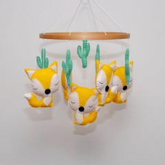 Foxes and music box mobile - Baby mobile - Pick your colours - crib mobile - nur