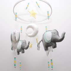 Elephant  Baby mobile - Mint grey and white elephants - crib mobile - pick your