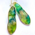 Handmade brass, green, gold, dangle earrings, long brass hooks, drop earrings