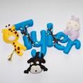 Jungle Felt Name Banner~ bright colours - Hippo - Giraffe - Monkey - name banner