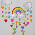 Rainbow and hearts - Set of 3 baby mobile ~ bright colours - felt rainbow and cl