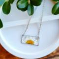 Silver Daisy Sunrise Resin Pendant Necklace