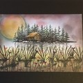 Handmade greeting card A summer evening  FREE POST IN PADDED BAG