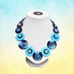 Blue button necklace -  Two blues