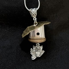 Upcycled Knife Handle Necklace - Birdhouse