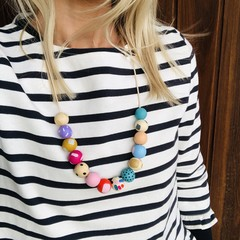 """Hand-painted """"Peachy Paula""""  Wooden Necklace!"""