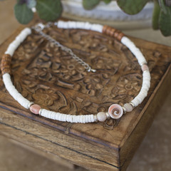 Shell, Gemstone and Coconut Surfer Style Choker Necklace