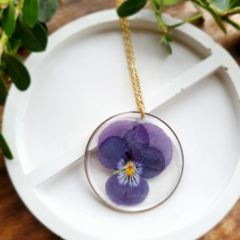 Gold Round Purple Pansy Resin Pendant Necklace
