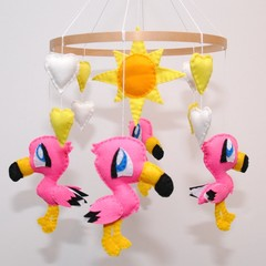 Flamingo Baby Mobile ~ flamingo - sun - crib mobile - made to order - baby gift