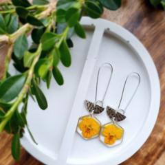 Silver Yellow Pixie Pansy Earrings