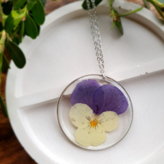 Silver Round White/Purple Pansy Resin Pendant Necklace
