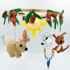 Australiana Baby mobile ~ kangaroo-platypus- kookaburra-wombat-emu-gumnuts-crib