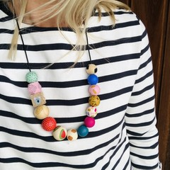 """Hand-painted """"Mustard Manuela"""" Wooden Necklace!"""