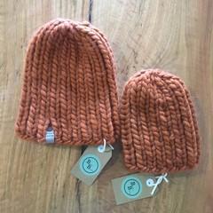 100% wool hand knitted Nokhu baby beanie