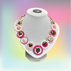 Pink Button necklace - Strawberry Sundae