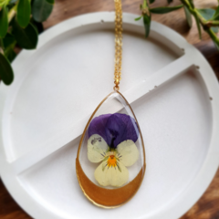 Gold White/Purple Pansy Resin Pendant Necklace