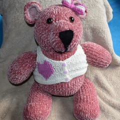 Hand knit Velvet Bear with Removable Vest.
