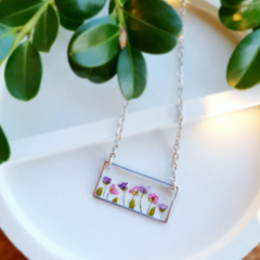 Silver Flower Garden Resin Pendant Necklace