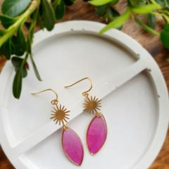 Gold Pink Peony Resin Earrings