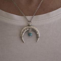 Silver Crescent Moon Pendant Necklace