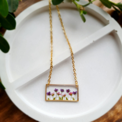 Gold Flower Garden Resin Pendant Necklace