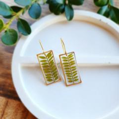 Gold Jacaranda Leaf Earrings