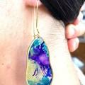 Handmade resin & brass dangle earrings drop earrings purple teal gold