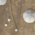 White Mother of Pearl Carved Flower Necklace