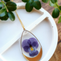 Gold Purple Pansy Resin Pendant Necklace
