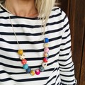 """Hand-painted """"Blue Ditto""""  Wooden Necklace!"""