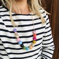 """Hand-painted """"Pink Frizzle"""" Wooden Necklace!"""