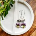 Silver Purple Bouquet Earrings