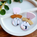Pink and Gold Marble Dangles