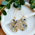 Gold Botanical Resin Earrings - Petal Head