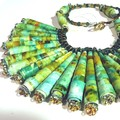 Necklace. Beaded Necklace. Handmade paper beads with cystals and gold clasp.