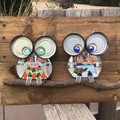 Rustic Garden Art Gorgeous Owl Couple Upcycled Unique Unusual One Of A Kind Vale