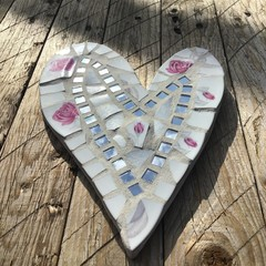 Handmade Mosaic Heart Wall Art Home Decor Unusual Unique One Of A Kind Gift