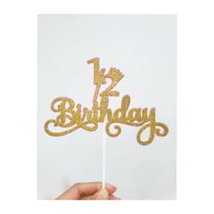 1/2 Birthday Cake Topper Glitter