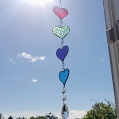 Stained glass suncatcher, bright colourful hanging hearts with rainbow crystals